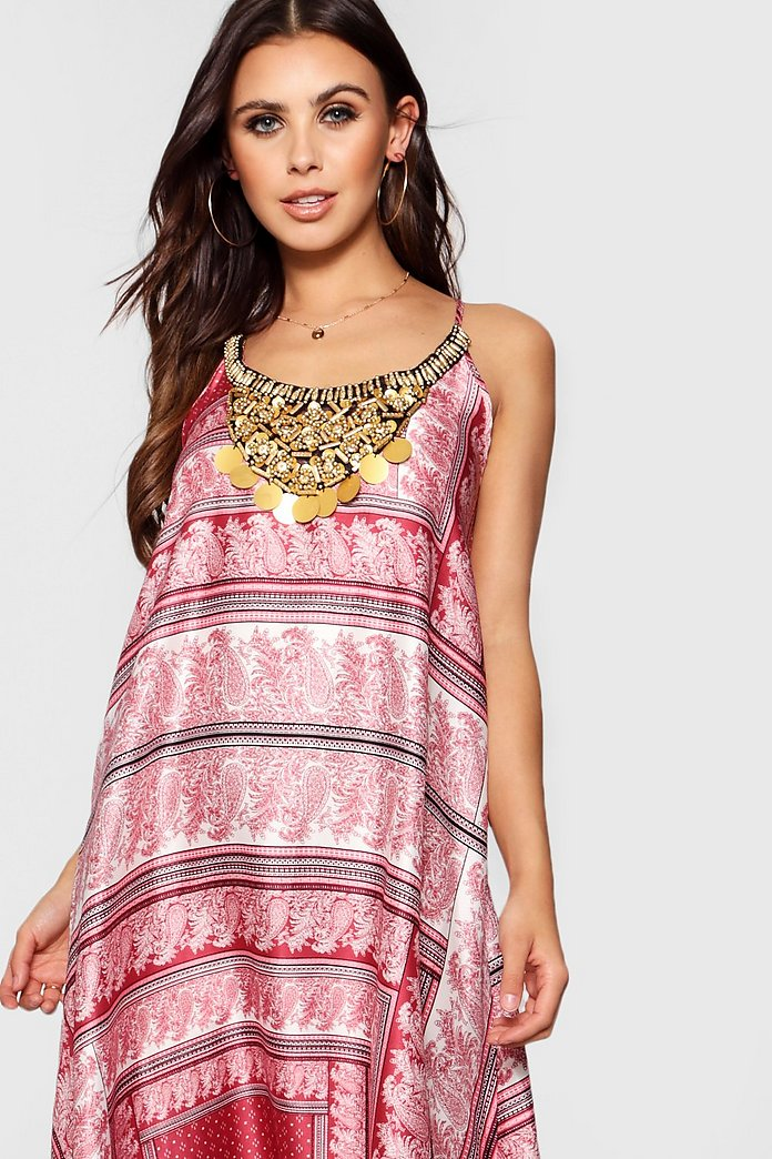 Robe Perlee Imprime Foulard A Ourlet Roulotte Petite Boohoo