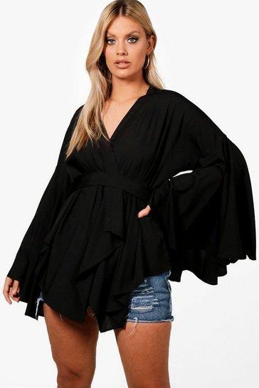 Black Plus Extreme Sleeve Wrap Front Tie Top