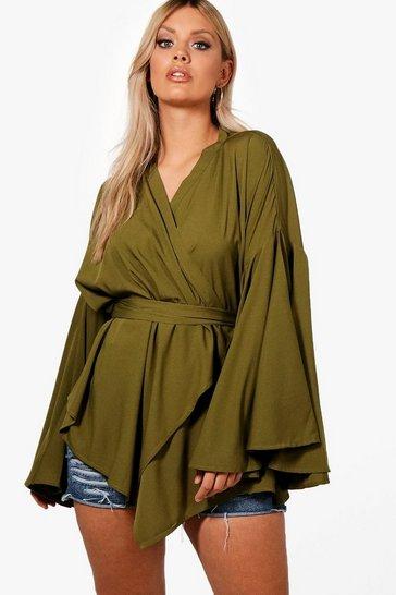 Khaki Green Plus Extreme Sleeve Wrap Front Tie Top