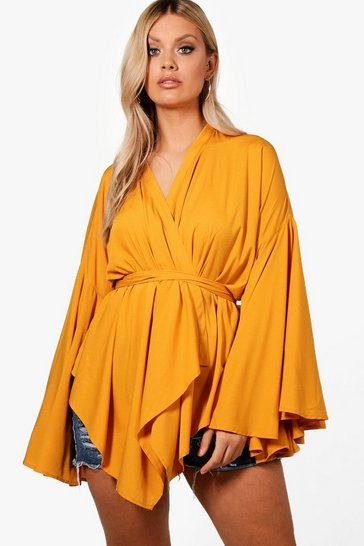 Mustard yellow Yellow Plus Extreme Sleeve Wrap Front Tie Top