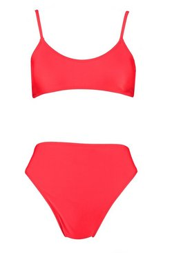 Red Petite  Strappy High Waisted Bikini