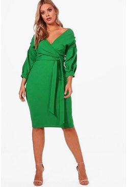 Leaf green green Plus  Off The Shoulder Wrap Midi Dress