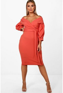 Sahara red red Plus  Off The Shoulder Wrap Midi Dress
