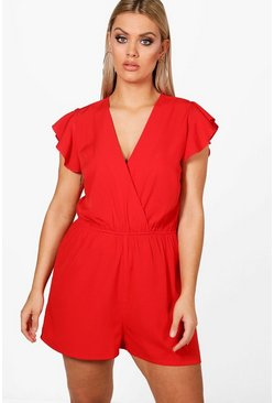 Red Plus  Ruffle Sleeve Playsuit