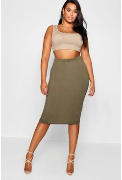 Khaki Plus  Midi Tube Skirt