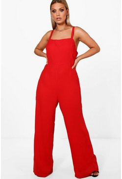 Plus Square Neck Wide Leg Jumpsuit, Red rosso
