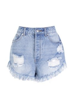 Blue Petite High Waisted Extreme Frey Hem Denim Short