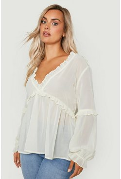 Ecru white Plus Ruffle Detail Plunge Blouse