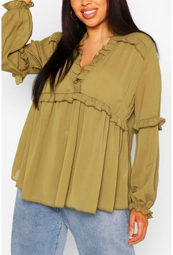 Khaki Plus Ruffle Detail Plunge Blouse