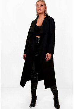 Black Plus Wool Look Coat