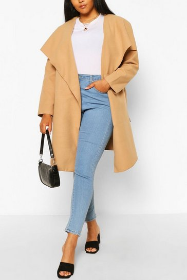 Camel Plus Wool Look Coat