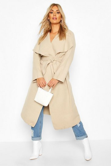 Stone beige Plus Wool Look Coat