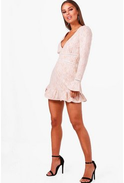 Nude Petite  Plunge Neck Drop Hem Lace Skater Dress
