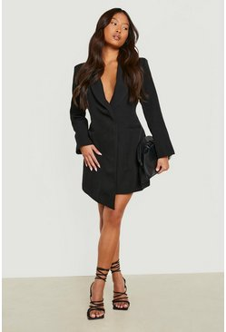 Black Petite Asymmetric Blazer Dress