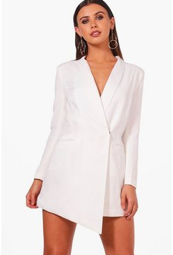 White Petite Asymmetric Blazer Dress
