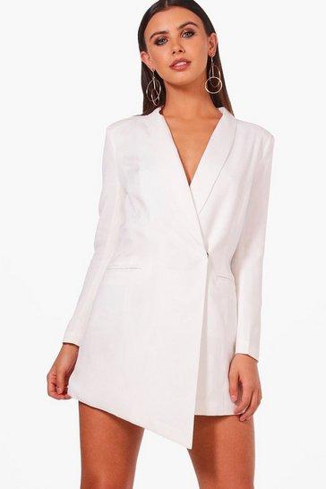 White Petite Asymmetric Blazer Dress