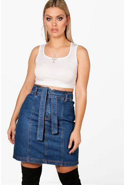 Mid blue blue Plus  Paper Bag Waist Denim Skirt