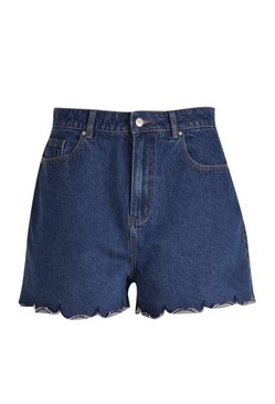 Mid blue Plus Scallop Hem Denim Shorts