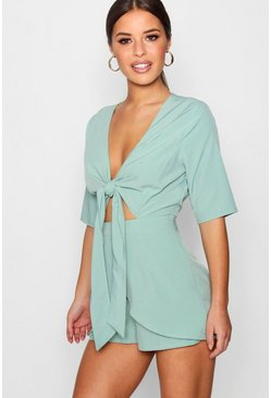 Green Petite Knot Front Plunge Romper