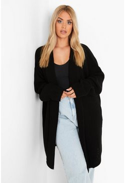 Black Plus  Oversized Chunky Cardigan