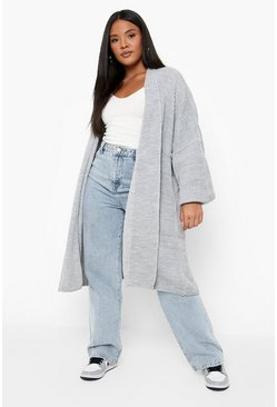 Grey Plus  Oversized Chunky Cardigan