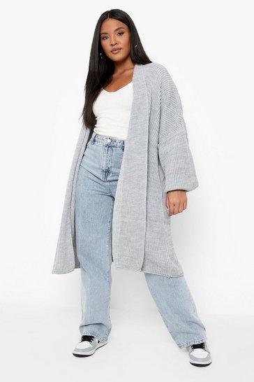 Grey Plus  Oversized Chunky Cardigan