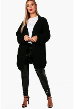 Black Plus  Chunky Oversized Cardigan