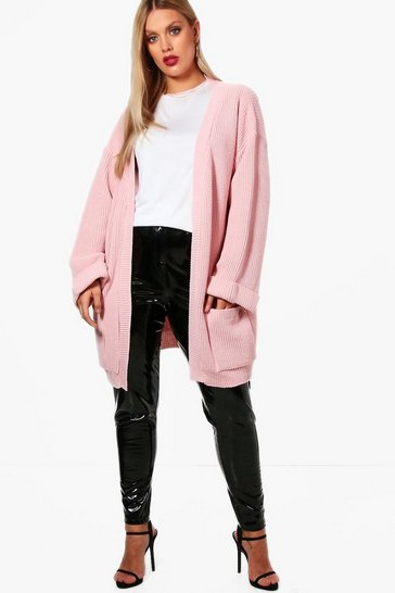 Blush pink Plus  Chunky Oversized Cardigan