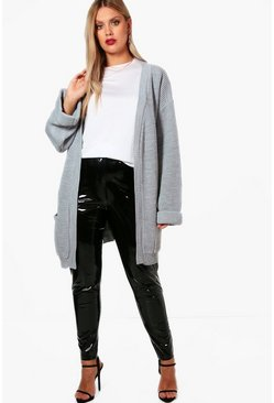 Grey Plus  Chunky Oversized Cardigan