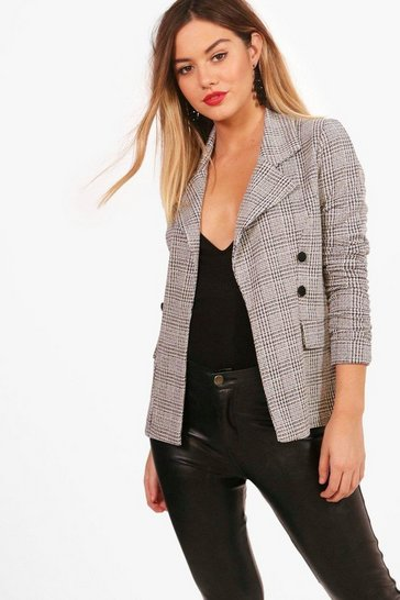 Grey Petite  Check Button Sleeve Blazer