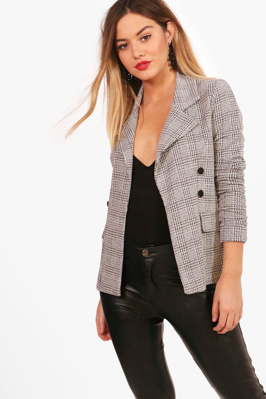 Petite Coats & Jackets Petite  Check Button Sleeve Blazer