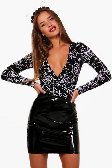 Black Petite Halloween Wrap Spider Print Bodysuit