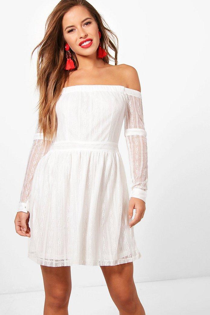Petite Off The Shoulder Lace Skater Dress | boohoo