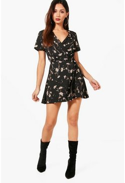 Petite  Ditsy Floral Wrap Dress, Black nero