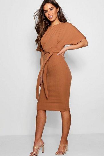 Camel beige Petite  Tie Waist Formal Wiggle Midi Dress