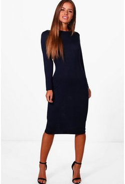 Navy Petite  Basic Long Sleeve Midi Dress