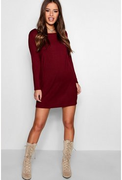 Cranberry red Petite  Long Sleeve Shift Dress