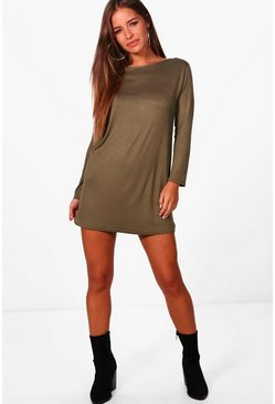 Khaki Petite  Long Sleeve Shift Dress