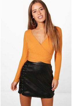 Amber orange Petite  Knitted Wrap Bodysuit