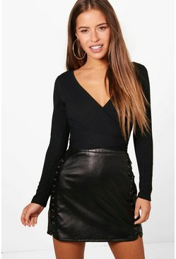 Black Petite  Knitted Wrap Bodysuit