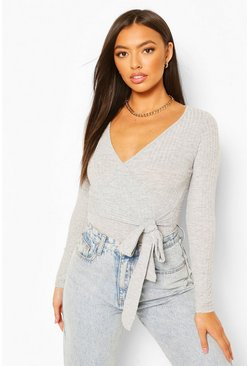 Grey Petite  Knitted Wrap Bodysuit