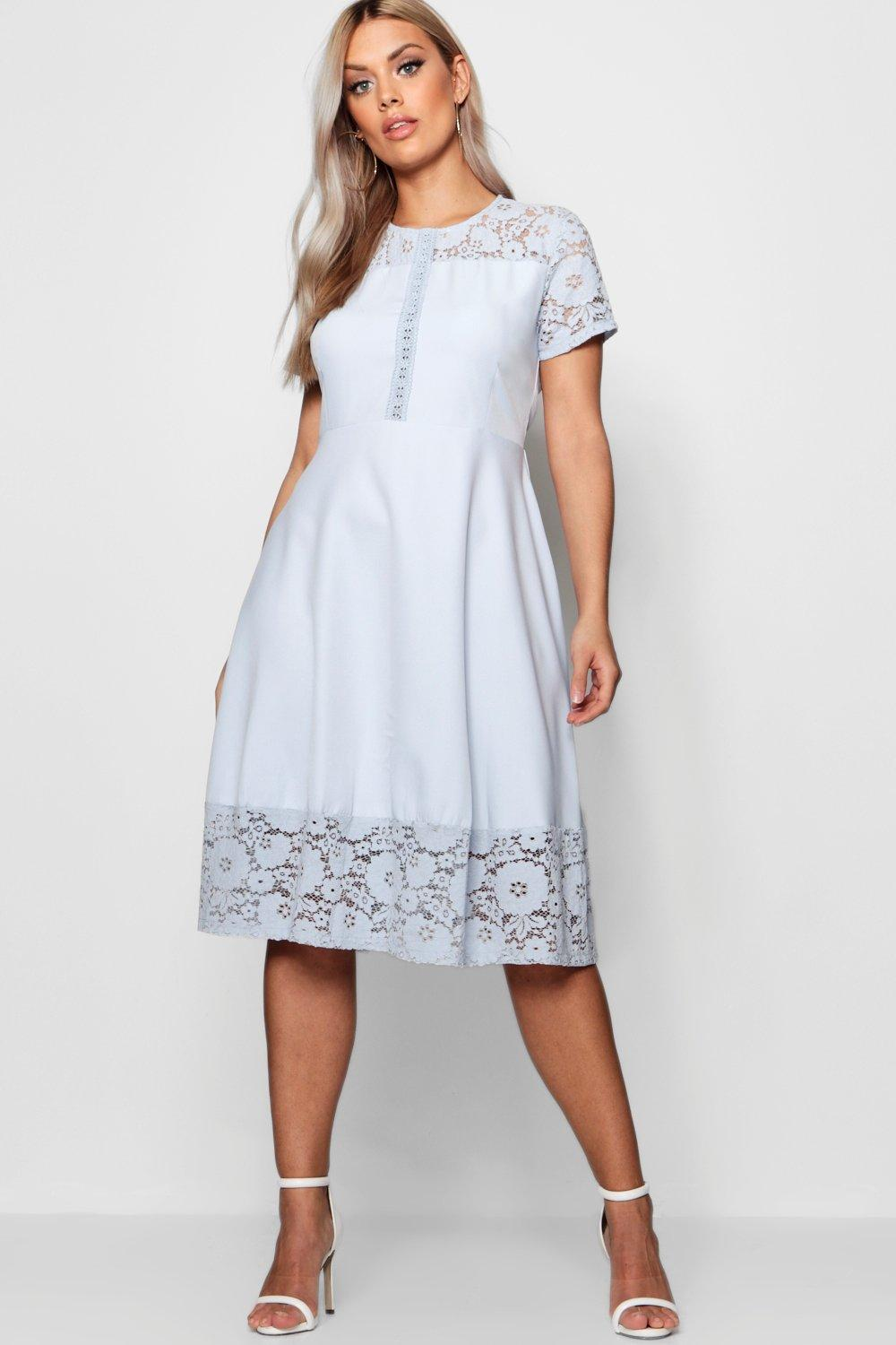 Plus Lace Panelled Cap Sleeve Skater Dress 14