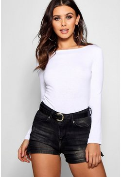 Petite  Basic Long Sleeve Top, White bianco