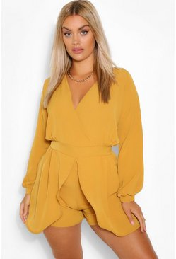 Mustard Plus  Tie Sleeve Wrap Front Playsuit
