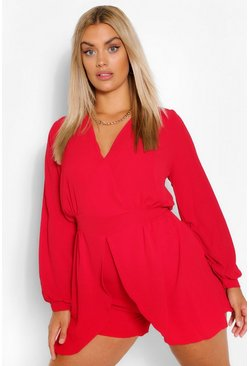 Red Plus  Tie Sleeve Wrap Front Playsuit
