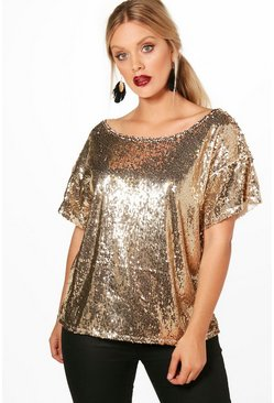 Gold metallic Plus Slash Sequin Neck Oversized Sequin Top