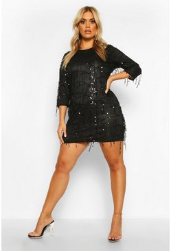 Black Plus Tassel Sequin Shift Dress