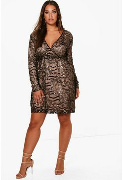 Black Plus Two Tone Wrap Sequin Dress