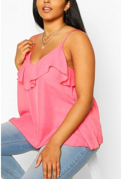 Bright pink pink Plus  Ruffle Detail Swing Cami