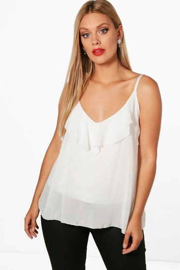 Ivory white White Plus  Ruffle Detail Swing Cami